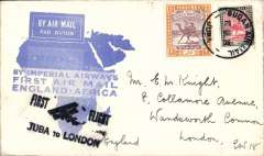 "(Sudan) F/F Juba to London, Imperial Airways/Airways House/London arrival cachet verso, carried on return of inaugural London to East Africa service, black ""First Flight Khartoum to London"" ""biplane"" cachet,  blue""map"" souvenir cover, Imperial Airways. By rail Cairo-Alexandria (Pullman Express) and Athens-Paris (Simplon Orient Express)."