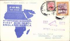 "(Sudan) F/F Kosti to London, b/s Anglesey 20/3,  flown on first return Engand-East Africa service, violet ""Kosti to London"" ""biplane"" cachet, blue""map"" souvenir cover, Imperial Airways. By rail Cairo-Alexandria (Pullman Express) and Athens-Paris (Simplon Orient Express)."