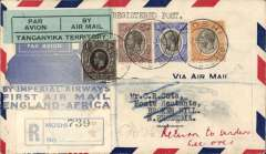 (Tanganyika) Registered (label) Cota cover, with original certificate of registration, Moshi to Broken Hill, bs 6/2, via Moshi 29/1, the forwarded to London via Durban 16/2 and Dar es Salaam 1/3, blue map cover franked 81c, black/pale green etiquette rated very scarce by Marie, Imperial Airways. Great routing.