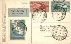(Tripolitania) Italian Sqadron Atlantic cruise, Italy to Brazil, commemorative PPC Tripoli to Rome, Posta Aerea/Tripoli D'Africa/15.1.31 tying 1930 Virgil 20c and 50c opt Tripolitania and blue/grey blue flight vignette, black/grey green airmail etiquette.