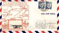(Azores) Scarcer Crosby cacheted Pan Am Yankee Clipper Trans-Atlantic F/F via Southern route, Horta to Marseille, bs 22/5, fine gold Crosby cachet, official Horta-Lisbon flight cachet, airmail cover. Popular with collectors, but not easy to find.