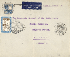 "(Netherlands East Indies) Experimental flight NEI to Australia, Tjireungas to Sydney, bs 18/5, via Batavia 7/5, registered 9label) cover franked 5c Netherland stamps, diamond ""Abel Tasman"" cachet tying special first flight stamp, typed 'Java-Australia', KLM. Uncommon origin."