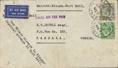 "(Kenya) Nairobi to Kampalaisumu, Uganda, bs 8/7, airmail etiquette cover 55c, violet ""Local Air Fee Paid"" hs, and typed 'Per Wilson Airways to Kisumu/Imperial Airways to Port Bell ""."