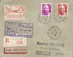 """(France) Air France, F/F Paris to New York, bs 25/6, registered (label) airmail etiquette cover franked 30F, blue framed flight cachet. Also orange/cream proof of the associated commemorative stamp inscribed """"1ier Laison Aerienne Francaise/Paris-New York""""."""
