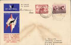(Australia) First acceptance of mail for Iraq for carriage on the first westbound service from Australia of the route from Singapore, Brisbane to Basra 20/12, via Calcutta 17/12, souvenir 'Kangaroo' cover franked 2d and 1/6d, ms 'Australia-Iraq''. Only 463 items were flown from Australia to all points other than London, viz to the Far East, Middle East, the Med, Europe and Africa. Thus some sections are scarce - this item is likely to be one such.