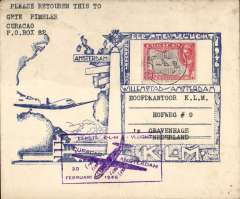 (Netherlands Antilles) KLM F/F Curacao to Amsterdam, no arrival ds, blue/white souvenir cover franked 45c.
