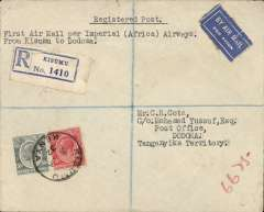 (Kenya) Kisumu to Dodoma, bs 28/1, via Nairobi 22/1, registered (label) Cota cover, carried on F/F Regular Service London/Cape Town, Imperial Airways. Ironed horizontal top edge crease.