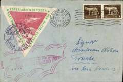 """(Italy) Trieste Zucker rocket, cover franked 2x5c tied Trieste 30.X.34 machinecancel, large red/green/white 7.70L triangular special stamp canc special cachet, also large red """"Esperimenti de Posta' hs."""