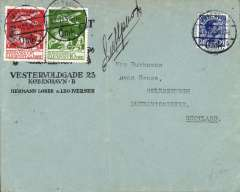 (Denmark) Early flown cover, Copenhagen to Scotland, no arrival ds, printed Lobbe and Iverson corner cover franked 1925 air 10o and 25o (cat £45 used), ms 'Luftpost', likely KLM/ABA.