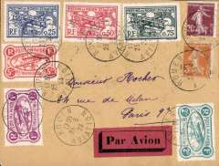 (France) Rouen Aviation Meeting, plain cover flown to Paris 24/9, franked six 'Meeting' semi official stamps to 5F + 25c ordinary, canc Rouen Aviation cds, dark red/black etiquette.