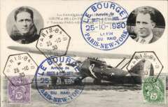 (France) An attractive B&W photo PPC celebrating the arrival of Coste and Bellonte in New York after their successful trans-Atlantic flight, showing head and shoulders of both pilots and their plane, franked 15c canc hexagonal 'Paris-84-B/25-10-30 datestamp, and superb strikes of the special  'Le Bourget/25-10-1930' cachet