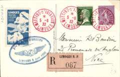 (France) Limoges Aviation Meeting, registered (label) souvenir PPC franked 45c Sower canc special red cds, and special blue oval Exhibition cachet tying special blue/white vignette.