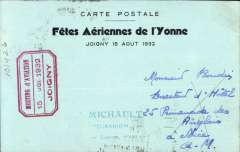 (France) Joigny Aviation Meting, illustrated card franked 20c and Expo vignette tied by Joigny cds and red framed Expo cachet.