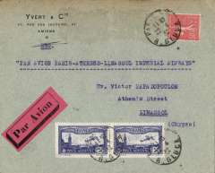 (France) Imperial Airways, France to Cyprus, second acceptance for the new Croydon-Karachi service, Yvert corner cover franked 3F 50c, and Paris cds and Paris Gare Avion, brick red/black etiquette
