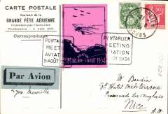 (France) Pontarlier Aviation Meeting, souvenir illustrated card to Nice, via Lyon and Marseille, special vignette and cachet.