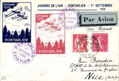 (France) Pontarlier Aviation Meeting, souvenir illustrated card to Nice, via Lyon 'Avion', semi official stamp, special vignettes and cachets.