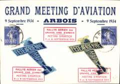 (France) Arbois, Jura, Aviation Meeting, souvenir illustrated card to Pontarlier, special vignettes and cachets.