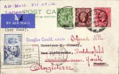 "(GB External) England to France and return, PPC flown both ways, franked GB 3d including FDI new GV 1d stamp, canc Huddersfield cds, bs Paris Avion 25/9, also France 1F50 canc Paris Avion 26/9, violet two line ""Air Mail, Par Avion/Luftpost"" hs. Nice item."