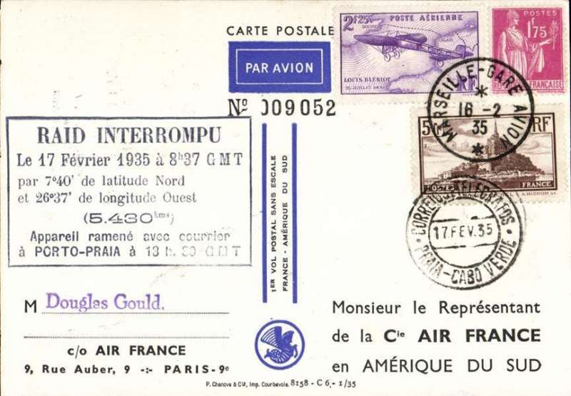 (France) Attempted direct non-stop flight by Codos and Rossi, Istres to Argentina, forced down at Porto Praya, Cape Verde Is, arrival ds 17/2 on front, black seven line cachet, Air France special souvenir PPC. South Atlantic route.