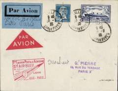 (France) Air Bleu, F/F Lille-Arras-Paris, special red framed cachet, red/white and blue/black airmail etiquettes.