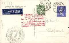 (France) Le Treport, rare first French rocket flight, B&W photocard showing rockets addressed to the inventor Karl Roberti, in his own hand, franked 15c canc Treport cds, blue/white 'Par Fusee' rocket etiquette tied by red six line Treport hs, also blsck 'Marie' cachet.