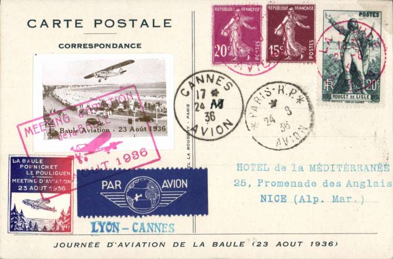 (France) La Baule, aviation Meeting, Atlantic Aeroclub souvenir card to Nice 24/8 via Paris 24/8 and Cannes 24/8, franked 55c canc red La Baule cds, also two special vignettes, both tied by red framed                 Meeting cachet.