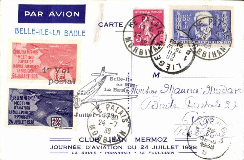 (France) La Baule Aviation Day, also F/F Belli-Ile to La Baule, souvenir PPC franked70c, canc Le Palais/Morbihan cds, two 'Club Jean Mermoz' tied by special cachet. Attractive item.