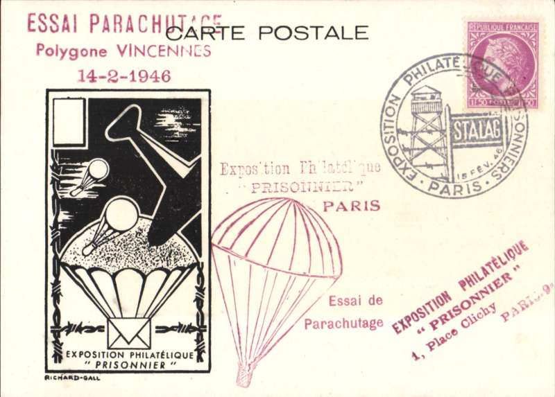(France) Paris 'Prisoner' Philatelic Expo, parachute mail souvenir card with imprint cachet, franked 1F50 canc special 'Stalag' Expo cachet, also red 'parachute' cachet and 'Essai de Parachutage' hs.