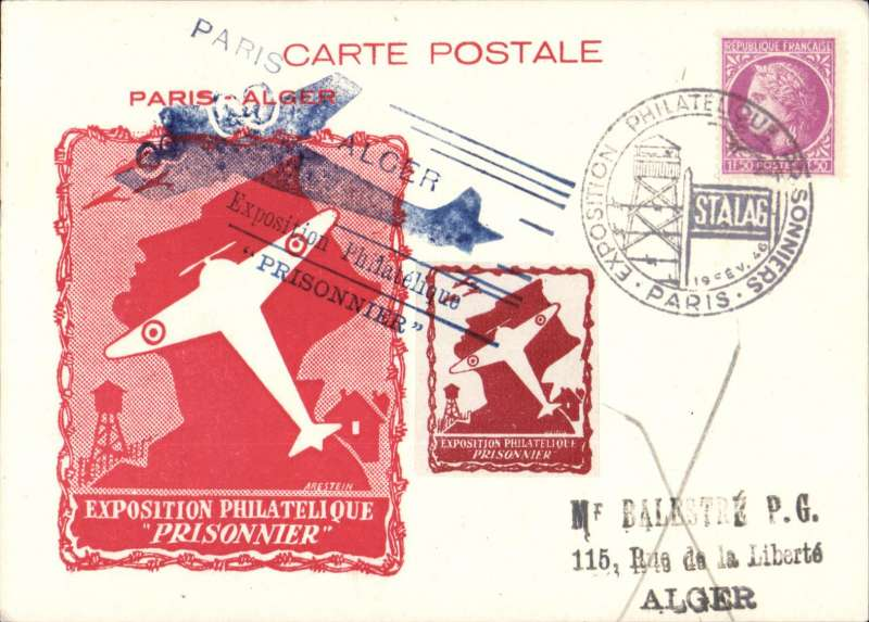 (France) Paris 'Prisoner' Philatelic Expo, parachute mail souvenir card with red imprint cachet, franked 1F50 canc special 'Stalag' Expo cachet, also brown/white Expo vignette and large blue 'Paris-Alger' Expo cachet.