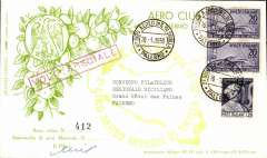 (Italy) International Air Tour of Sicily, souvenir cover franked 41L20, canc '2 Giro Int Di Sicilia/20.5.1950/Palermo', bs '2 Giro Int Di Sicilia/20.5.1950/Catania', larg red flight cachet verso. Signed by the pilot.