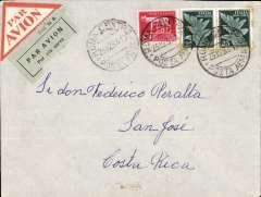 (Italy) Early airmail, Rome to San Jose, Costa Rica, bs 9/1/34, via Roma Ferrovia 23/10 and Turin 24/10, airmail cover franked 5L 50c canc Roma Centro/23.12.33 cds, grey/black Mod 24R etiquette, and attractive triangular red/white airmail etiquettes.Uncommon origin-destination combination.