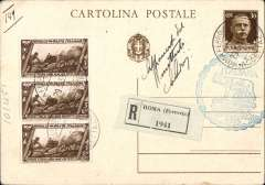 (Airship) Graf Zeppelin Italy flight, registered (label) 30 PSC canc Roma Ferrovia/29.5.33 with additional Fascist March 5c x3, 15cx2, and 3L Zepellin stamp canc Italy receiving mark.