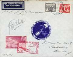 (Netherlands ) First rocket night flight carried by Mercurius, cover franked 1 1/2c, canc 'Katwijk aan Zeel/21-III-1935', imperf vignette tied by red rectangular cachet, also blue circular cachet, and signed by the inventor Karl Roberti.