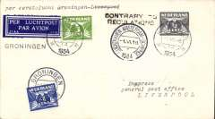 "(Netherlands) KLM F/F 7th GB Inland Airmail Service, Groningen- Amsterdam-Liverpool, bs 5/6 (see later), cover franked 7 1/2c, canc Amsterdam type 1 cds, tied dark blue/white 37AA/3730 airmail etiquette. However, at this time, mail was only carried as far as Hull, so the cover was returned to Luchthaven Schipol with a black two line ""Contrary To Regulations"" hs. Nice exhibit item."