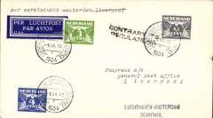 "(Netherlands ) KLM F/F 7th GB Inland Airmail Service, Amsterdam-Liverpool, bs 2/6, cover franked 7 1/2c, canc Amsterdam type 1 cds, tied dark blue/white 37AA/3730 airmail etiquette. However, at this time, mail was only carried as far as Hull, so the cover was returned to Luchthaven Schipol with a black two line ""Contrary To Regulations"" hs. Nice exhibit item."