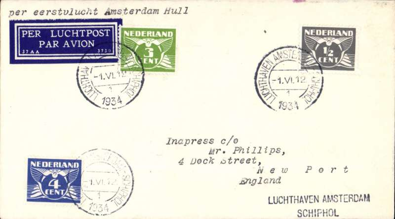 (Netherlands) KLM F/F 7th GB Inland Airmail Service, Amsterdam-Hull, plain cover franked 17 1/2c, canc Amsterdam type 1 cds,  dark blue/white 37AA/3730 airmail etiquette.