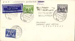 "(Netherlands) KLM F/F 7th GB Inland Airmail Service, Rotterdam-Liverpool, bs 2/6, cover franked 7 1/2c, canc Amsterdam type 1 cds, tied dark blue/white 37AA/3730 airmail etiquette. However, at this time, mail was only carried as far as Hull, so the cover was returned to Luchthaven Schipol with a black two line ""Contrary To Regulations"" hs. Nice exhibit item."