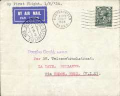 (GB External) KLM F/F Liverpool to Gravenhage, 1/6 arrival cds on front, airmail etiquette cover franked 4d.