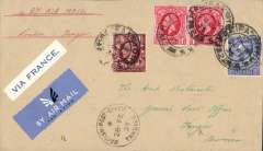 (GB External) London to Morocco, Tangier 26/2 arrival ds on front, via Paris 25/2, airmail etiquette cover franked KGV 1d x2, 1 1/2d and 2 1/2d, correctly rated 6d per 1/2 oz, canc Halifax cds, blue/white 'Via France' label, ms 'By Air Mail'.