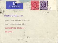(GB External) KGV photogravure 3d FDI and KGV 1d and 1/2d verso canc Mansfield cds on imprint etiquette airmail cover, London to France, bs Paris 19/3'. Ordinary FDI cat £40 Bradbury 2008. Some rough opening along top edge front, not affecting stamps.