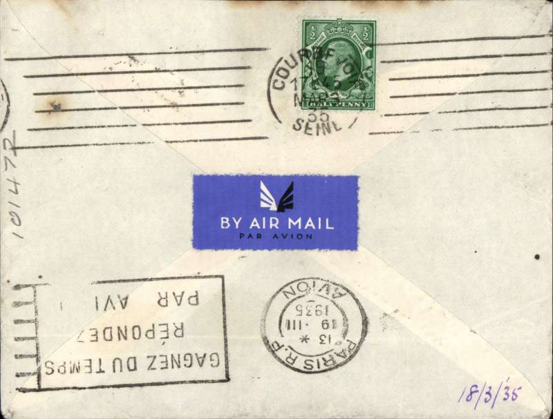 (GB External) KGV photogravure 2 1/2d FDI and KGV 1/2d and 1d canc Hudersfield cds on airmail cover, London to France, bs Paris 19/3'. Ordinary 2 1/2d FDI cat £30 Bradbury 2008