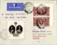 (GB External) KGV Silver Jubilee First Day of Issue 1 1/2d pair and 1d verso canc Huddersfield cds on airmail cover London to Sweden, bs Malmo 8/5, 'Jubilee 6-5-1935/1st Day, 1er Jour' hs, also attractive B&W photo vignette showing head and shoulders of King George V and Queen Mary.