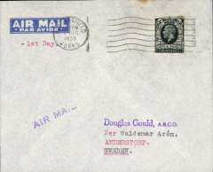 (GB External) KGV photogravure 4d FDI canc Mansfield cds on imprint etiquette airmail cover, London to Sweden, bs Malmo 3/12, typed '1st Day'. Ordinary FDI cat £80 Bradbury 2008