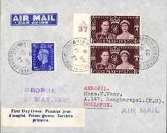 (GB External) England to Hollande, bs Hoogskarspel14/5, imprint etiquette airmail cover franked 5 1/2d including vertical pair FDI 1 1/2d Coronation with Control, canc Huddersfield cds, blue/white three line 'First Day Cover' label, violet 'Air Mail' hs.