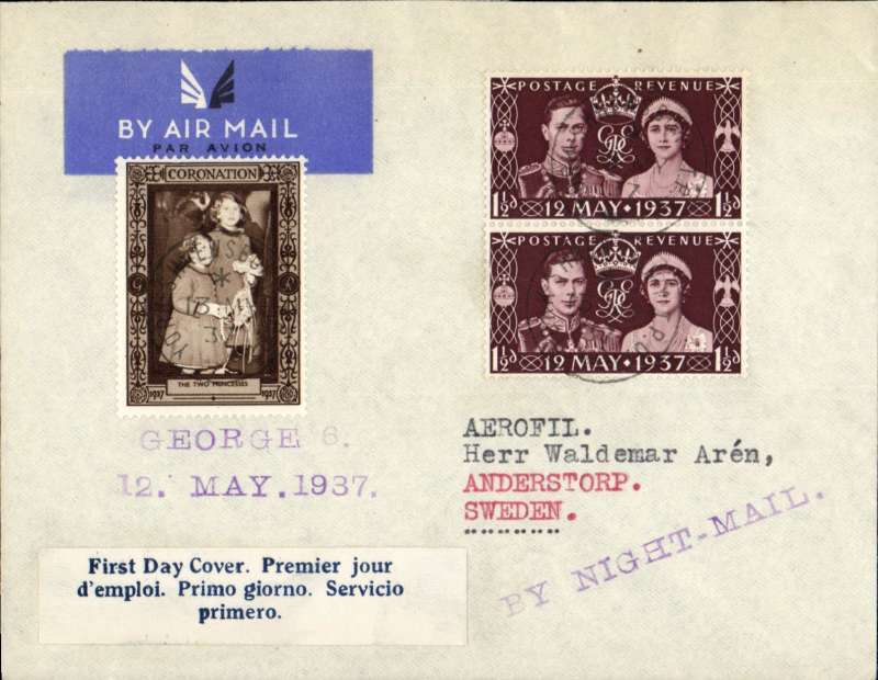 "(GB External) England to Sweden, imprint etiquette airmail cover franked vertical pair FDI 1 1/2d Coronation, canc York-Shrewsbury T.P.O. aboard the Night Mail train, blue/white three line 'First Day Cover' label, attractive brown/cream 'The Two Princesses'  vignette on front, violet straight line ""By Night Mail"" hs."