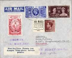 "(GB External) England to Holland, imprint etiquette airmail cover franked 4 1/2d including kings of three reigns and the FDI KGVI Coronaton 1 1/2d, canc York-Shrewsbury T.P.O. aboard the Night Mail train, attractive red/cream 'Cronation of King George VI' vignette on front, blue/white three line 'First Day Cover' label, attractive 'H.M. The Queen'  vignette verso, violet straight line ""By Night Mail"" hs."