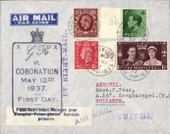 (GB External) England to Holland, imprint etiquette airmail cover franked 4 1/2d including kings of three reigns and the FDI KGVI Coronaton 1 1/2d, canc York-Shrewsbury T.P.O. aboard the Night Mail train, large black crown over framed 'Coronation' FDI cachet, blue/white three line 'First Day Cover' label, attractive 'Duke and Duchess of Kent' label verso.