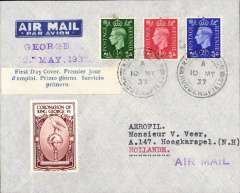 (GB External) England to Holland, imprint etiquette airmail cover franked FDI KGVI set of 3, canc Huddersfield cds, blue/white three line 'First Day Cover' label, attractive brown/cream 'Coronation of King George VI' vignette.
