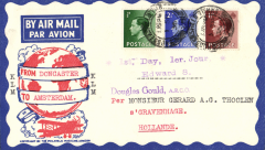 (GB External) England to Gravenhage, Holland, attractive Philatelic Magazine airmail cover franked FDI KEVIII set of 3, canc Huddersfield cds.