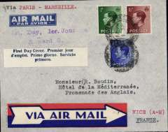 (GB External) England to Nice, bs Cannes Avion and NIce, imprint etiquette airmail cover franked FDI KEVIII set of 3, canc Huddersfield cds, blue/white three line 'First Day Cover' label, typed 'Via Paris and Marseille'.